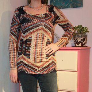 Geometric bohemian long sleeve shirt